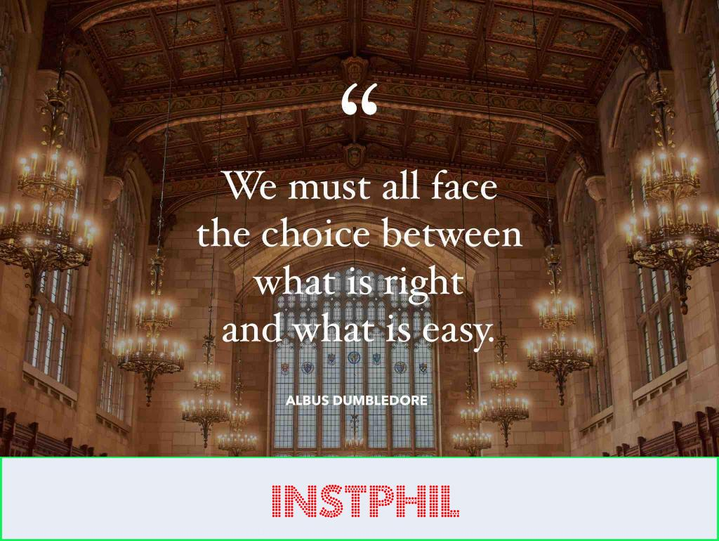 """Albus Dumbledore quote """"We must all face the choice between what is right and what is easy"""""""