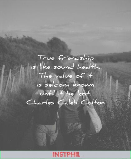 friendship quotes true like sound health value seldom known until lost charles caleb colton wisdom two woman blond walking fields nature