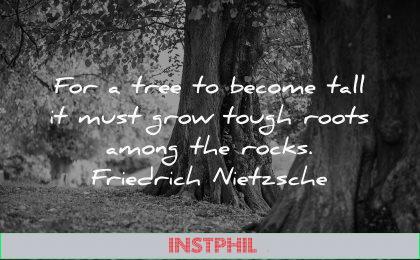 hurt quotes tree become tall must grow tough roots among rocks friedrich nietzsche wisdom nature