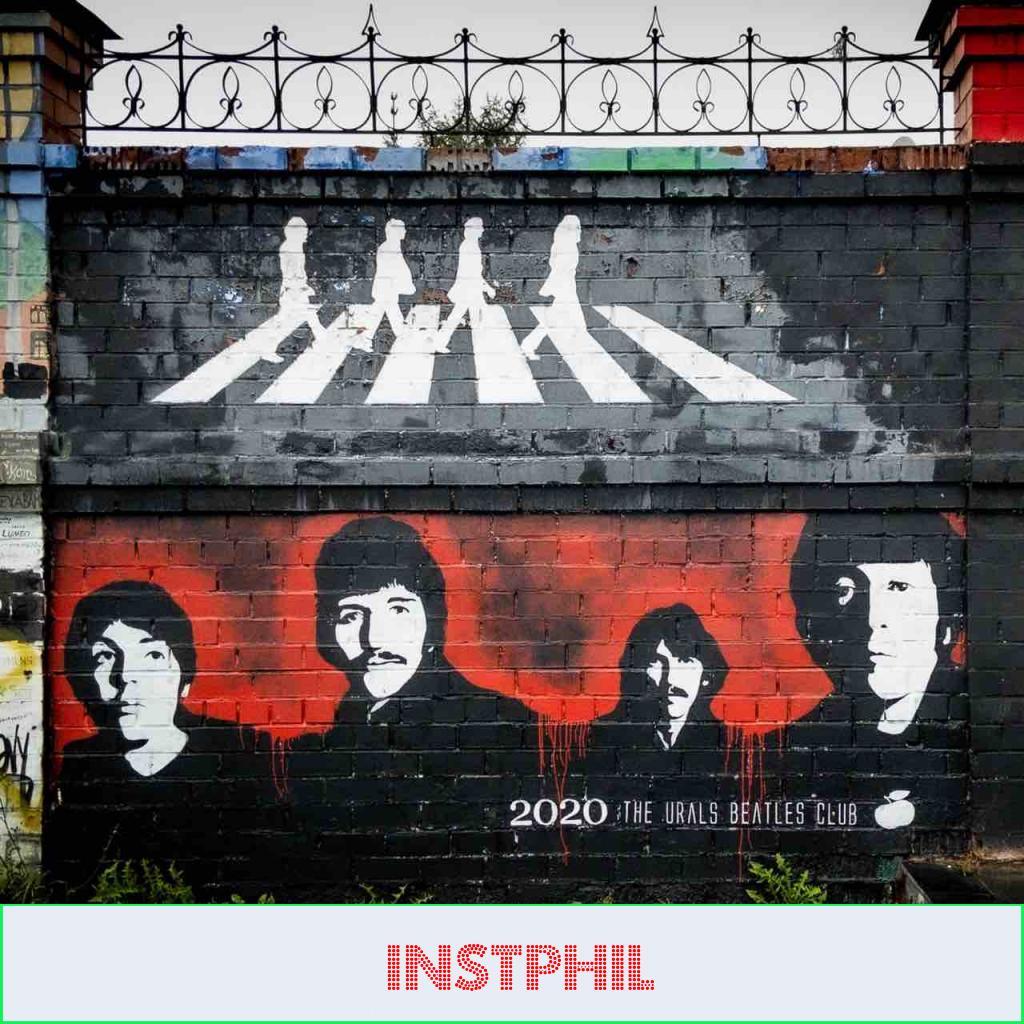 Street art mural of the Beatles to celebrate their motivating lyrics