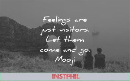 letting go quotes feelings just visitors let them come mooji wisdom nature sea rocks