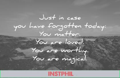 love quotes just in case you have forgotten today you matter you are loved you are worthy you are magical wisdom quotes