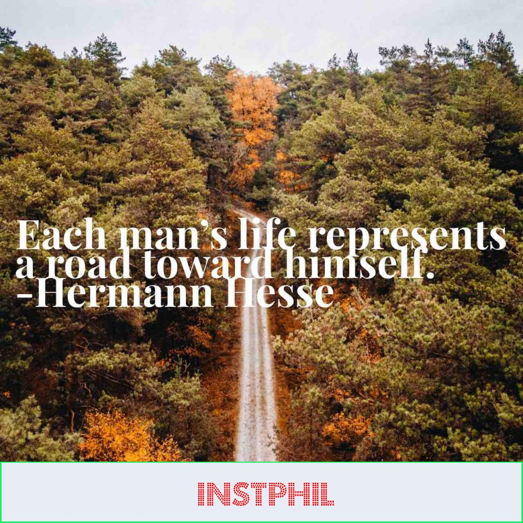 """Hermann Hesse quote """"Each man's life represents a road toward himself"""""""